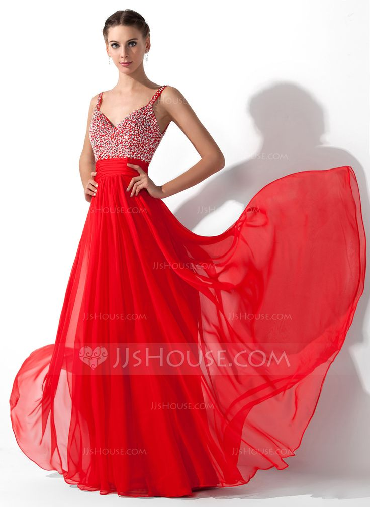 A-Line/Princess V-neck Floor-Length Chiffon Prom Dress With Ruffle Beading Sequins (018005105) - JJsHouse