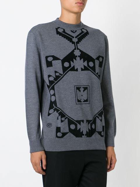 suéter con motivo Navajo en intarsia