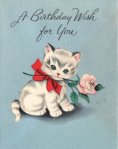 Vintage Birthday Kitten With Rose