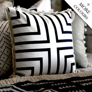 Description: Add a touch of geometry to your room with these gorgeous hand-printed cushions. Soft
