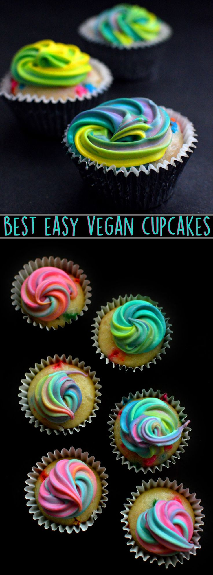Best Vegan Cupcake + Cake Recipe - Easy! Unicorn Rainbow Funfetti Vanilla - Eggless - Without Eggs - Dairy Free - Birthday Party - Rich Bitch Cooking Blog