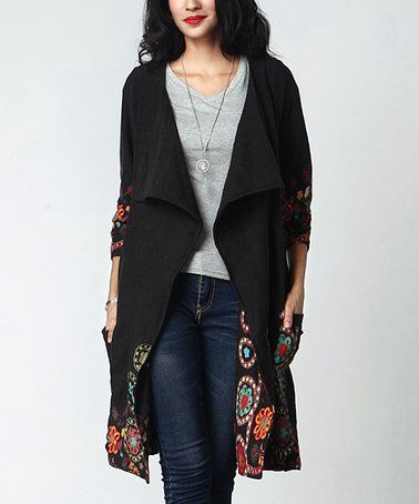 0a9e76151c This Black Dotted Garden Open Cardigan - Women is perfect!  zulilyfinds