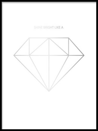 Elegant poster with a diamond in silver foil. The background is printed with a hint of light gray. Trendy and stylish poster with our popular print 'Shine bright like a diamond'. It will definitely add a sense of luxury to your wall! This poster is also available in gold and black and white. www.desenio.com
