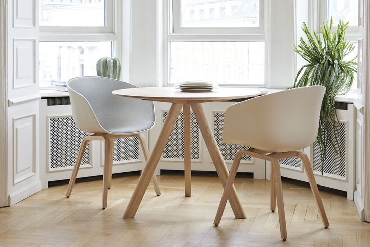 About A Chair upholstery and Copenhague round table