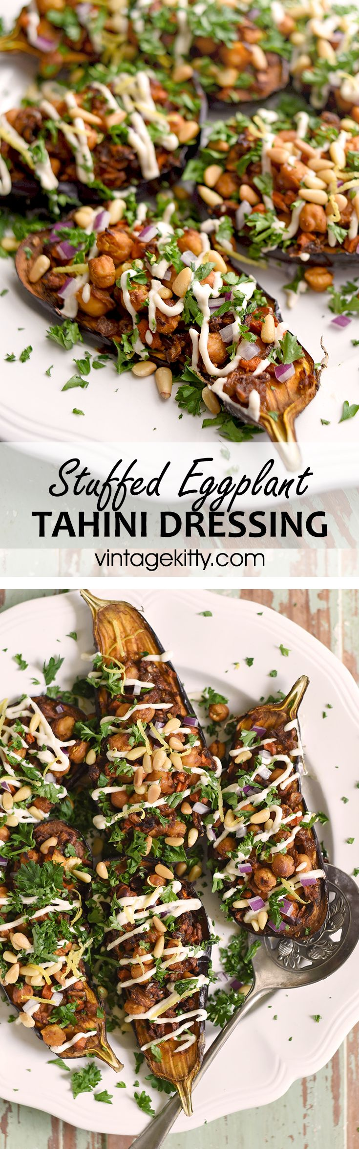 Eggplant becomes the vessel for warmly spiced chickpeas and carrots in this lavish #vegan recipe. It's drizzled with a sweet lemon tahini dressing and topped with fresh parsley and pine nuts.