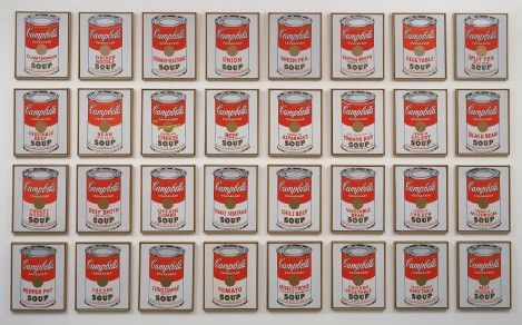 "Any Warhol's ""Campbell's Soup Cans"" are a good example of his fascination with mass production and mass consumption."