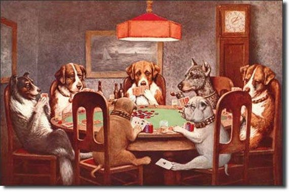 Tin Sign Dogs Playing Poker 12 X16 Man Cave Man Cave Decor