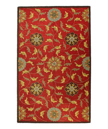 Love This Red Flower Harvest Wool Rug On Zulily Zulilyfinds