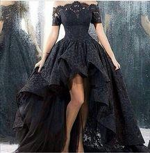2015 noir dentelle robe de soirée asymétrique parole longueur hors - la - épaule robes longos robes de soirée(China (Mainland))