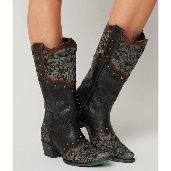Lane Boots Kimmie Cowboy Boot - Black US 10 ($395) ❤ liked on Polyvore featuring shoes, boots, black, cowboy boots, tall cowgirl boots, cowgirl boots, tall western boots and black cowboy boots