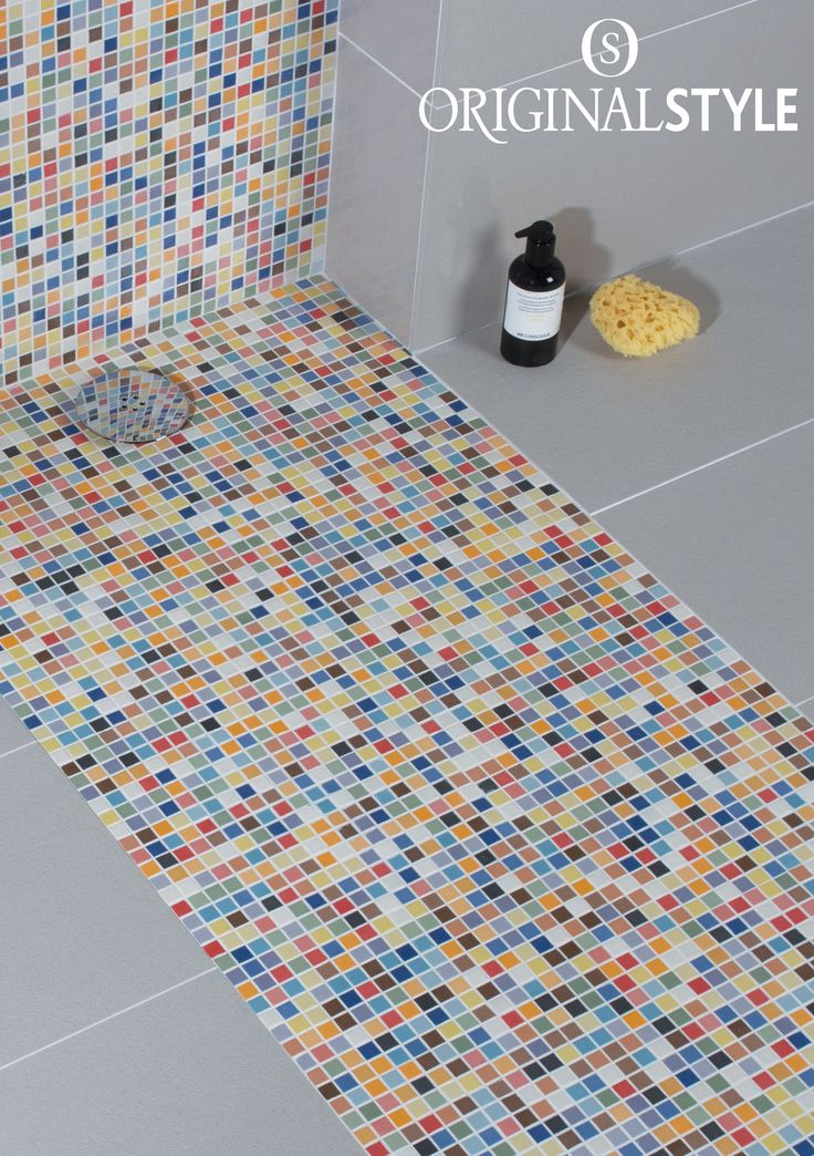 Ibiza is a mosaic by Original Style with the happiness factor. Colourful Ibiza will jazz up a bathroom - and you don't need to tile the whole bathroom or kitchen wall to get the effect.  Shown here with Mineral Portland polished porcelain tiles from the Tileworks collection by Original Style.