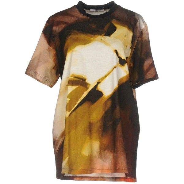 Givenchy T-shirt ($790) ❤ liked on Polyvore featuring tops, t-shirts, dark brown, jersey top, givenchy tee, multi color t shirts, short sleeve tee and multicolor t shirt