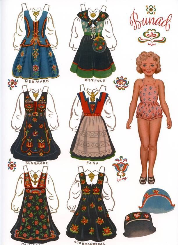 4 Norwegian Paper Dolls with Norway Bunads Traditional Folk Costumes