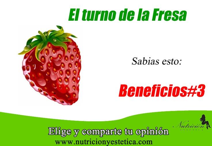 FRESA. conoce sus beneficios. #3. Aquí:          http://nutricionylaestetica.blogspot.com/2012/10/nutricionistalima_4631.html        Las nutricionistas de Lima de Nutricion Estetica estan redactando estos articulos sobre las fresas para que puedan conocer los beneficios de esta fruta