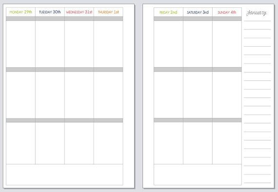 2015 printable week on two pages vertical planner for by