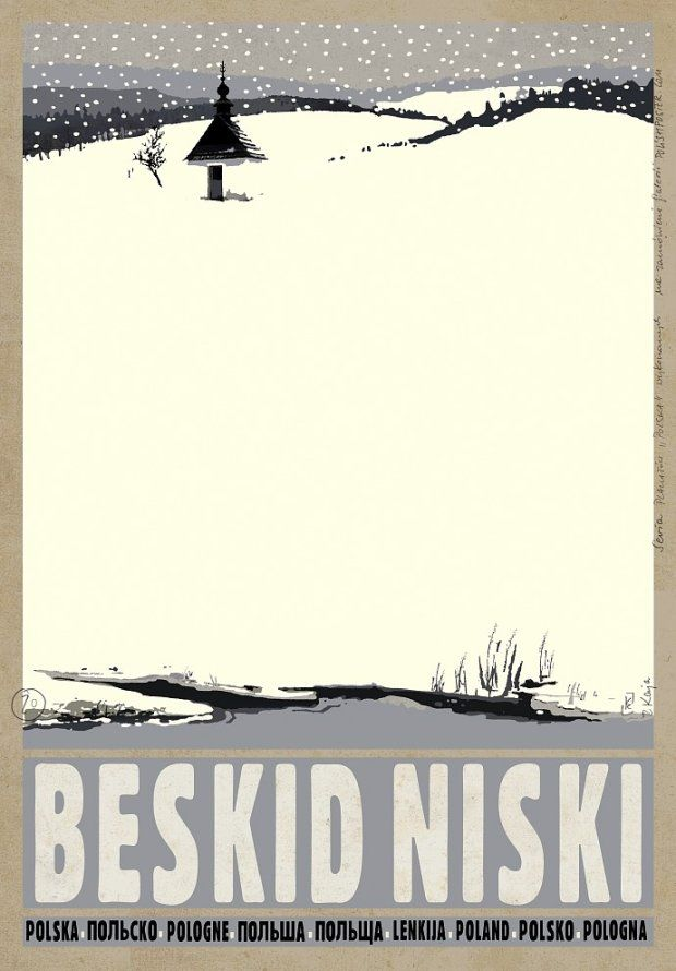 Beskid Niski - POSTER by ryszard kaja (the snowflakes make it)