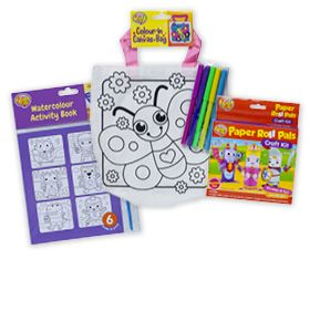 Watercolour Activity Book $3, Paper Roll Pals Craft Kit or Colour-in Canvas Bag $3.50