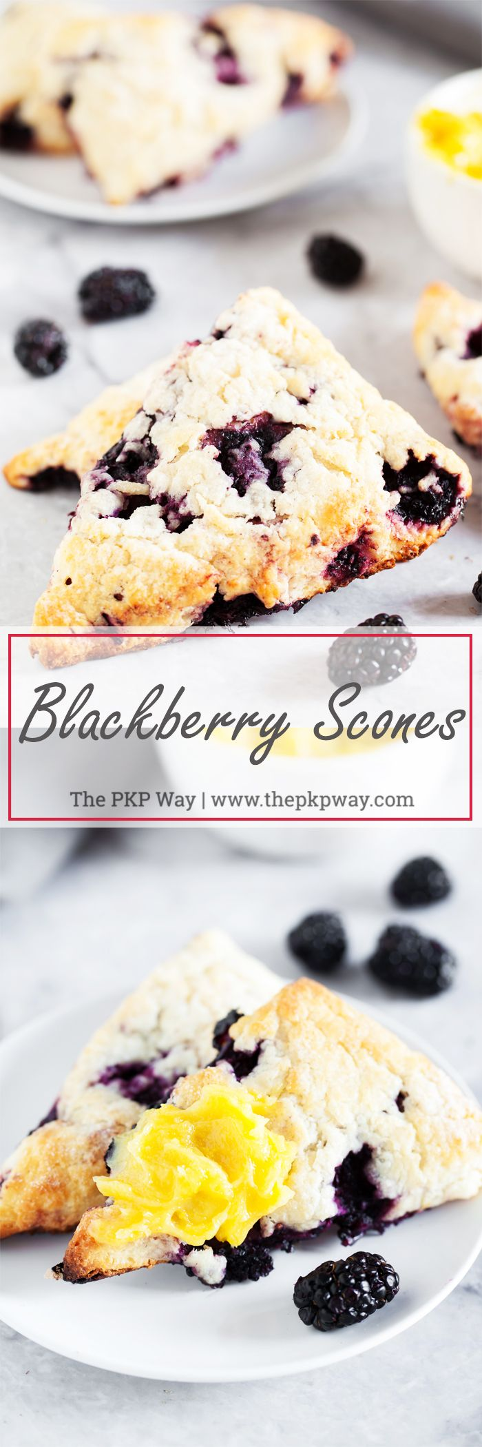 Flaky, buttery, berry-licious Blackberry Scones are packed with juicy blackberries and make the perfect snack or on-the-go breakfast.