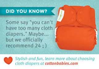 24-36 + cloth diapers per child recommended.  36-40 min for two children.