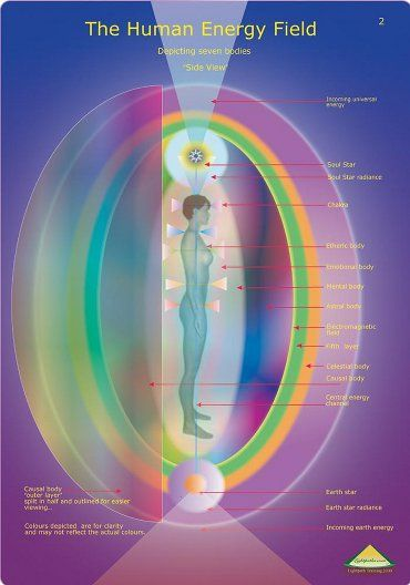 Directly above the skin's surface, the human energy field is divided into etheric layers. Each of these layers is three dimensional and envelops the body like a sheath or shell.