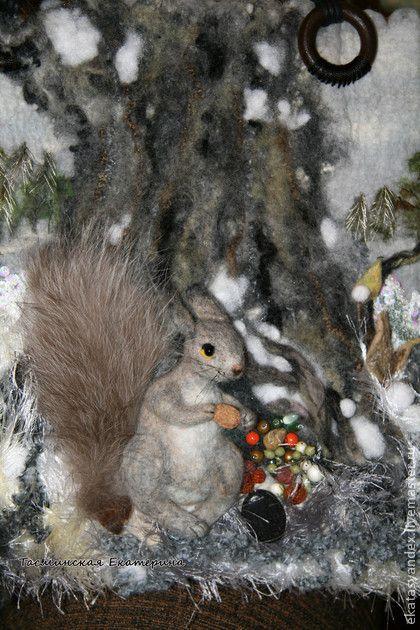 Беличьи запасы - серый,белка,зима,Снег,лес,сумка с белкой,валяная сумка