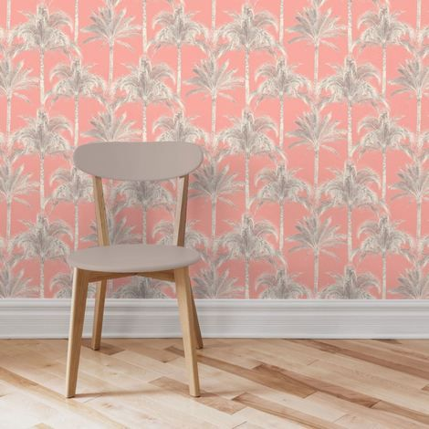 Miami Palm Tree Wallpaper Pink Tropical Trees. Add a sun filled vibe to your home with this Miami palm tree wallpaper from Fine Decor. Funky palm tree designs are the main attraction displaying great style and detail. A soft combination of pink and brown allows the design to glow elegantly.This palm tree print wallpaper can bring an exotic feel to any room in your house. Click to shop for yours.