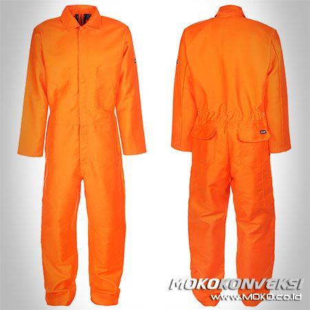 Safety Coverall - MOKO KONVEKSI. Konveksi Seragam Wearpack Coverall Safety Warna Orange Polos.