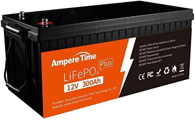 Amazon Com Ampere Time 12v 300ah Lithium Iron Phosphate Lifepo4 Deep Cycle Battery Built In 200a Bms In 2021 Deep Cycle Battery Solar Lithium Iron Phosphate Battery