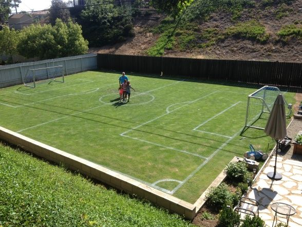 Private soccer field to the side of my house great to for Homemade basketball court