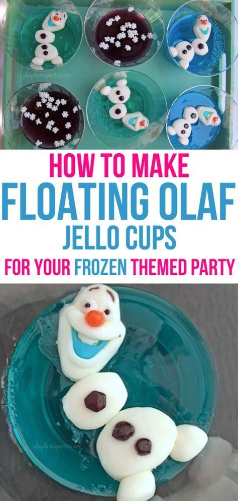 These floating Olaf Jello cups are surprisingly easy! In 3 simple steps, you can make this adorable no-muss, no-fuss Frozen-themed snack featuring everyone's favorite snowman. Best of all it's sure to impress your party guests and thrill the kids. http://playdatesparties.com/2017/03/floating-olaf-jello-cups.html