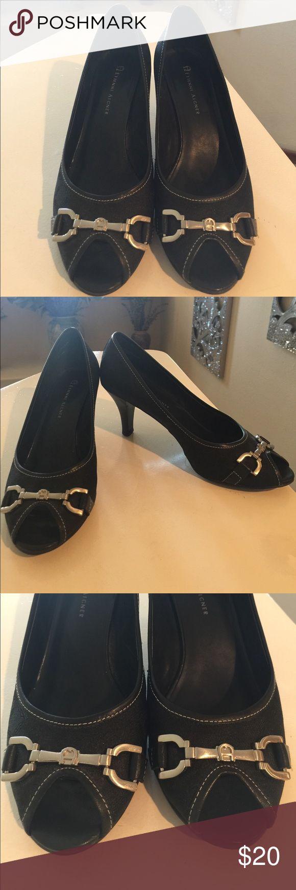 Etienne aigner black leather gloves - Etienne Aigner Peep Toe Pump In Black