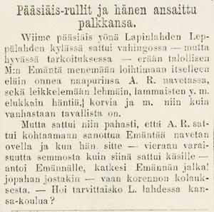 SKS vuotuisjuhlat. Pääsiäinen. Tapio 15.4.1871
