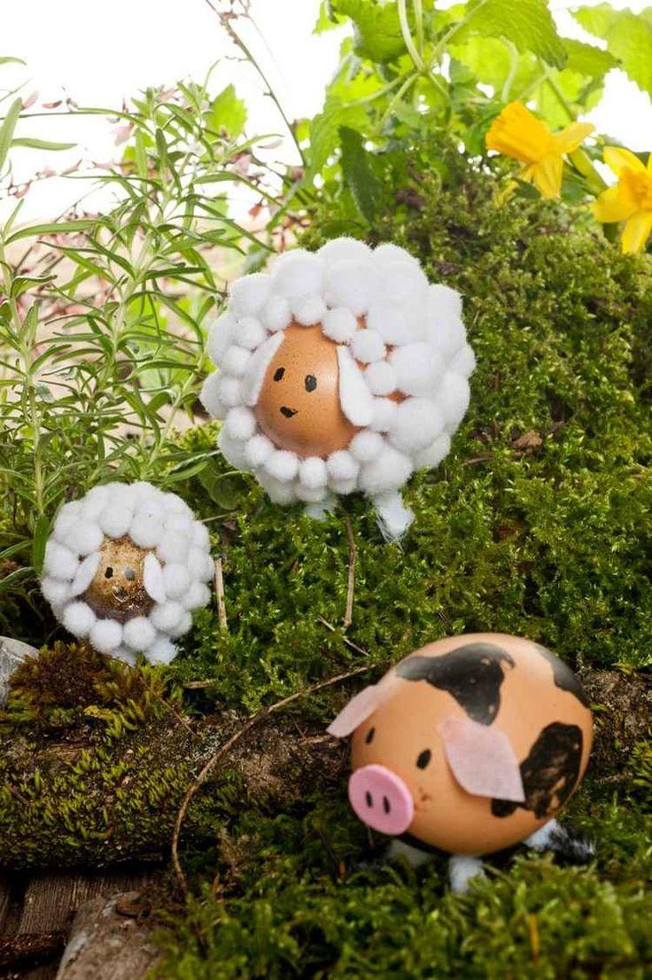 Schafe und Schwein aus Eierschalen basteln