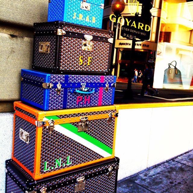 I die-- stacks of Goyard trunks