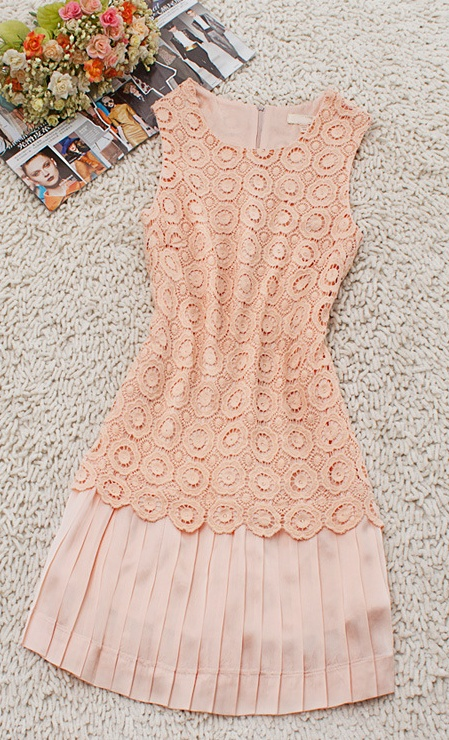 Crochet Lace Peach Dress.  Oh, how I wish this would just appear in my closet!!