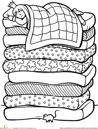 Worksheets: Color the Princess and the Pea