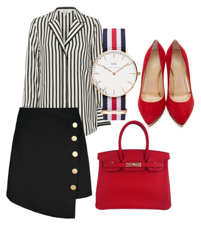 """""""Untitled #25"""" by devih on Polyvore featuring Frame, Charlotte Olympia, Hermès and Daniel Wellington"""