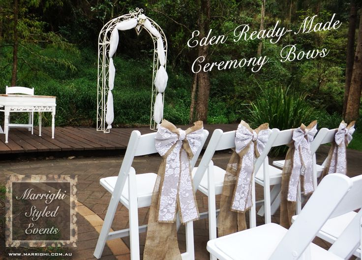 Rustic Wedding Ceremony with hessian & lace bows - styled by www.marrighi.com.au