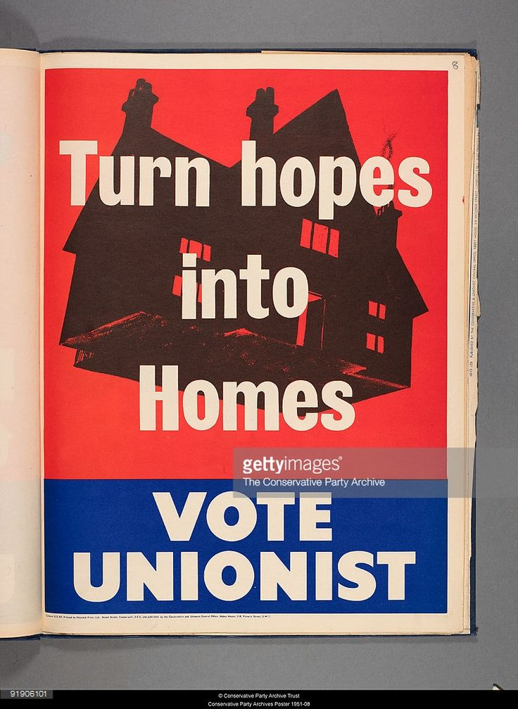General Election poster for the Ulster Unionist Party depicting a floating house with the caption 'Turn hopes into homes'.