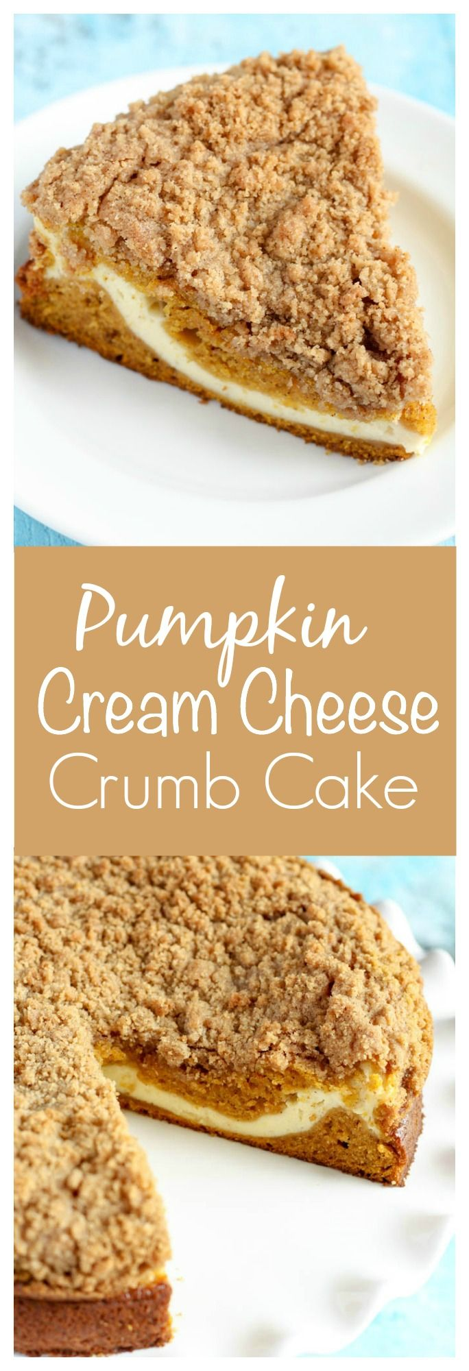 Pumpkin crumb cake with a cream cheese filling in the center. This Pumpkin Cream Cheese Crumb Cake is perfect for breakfast or dessert!