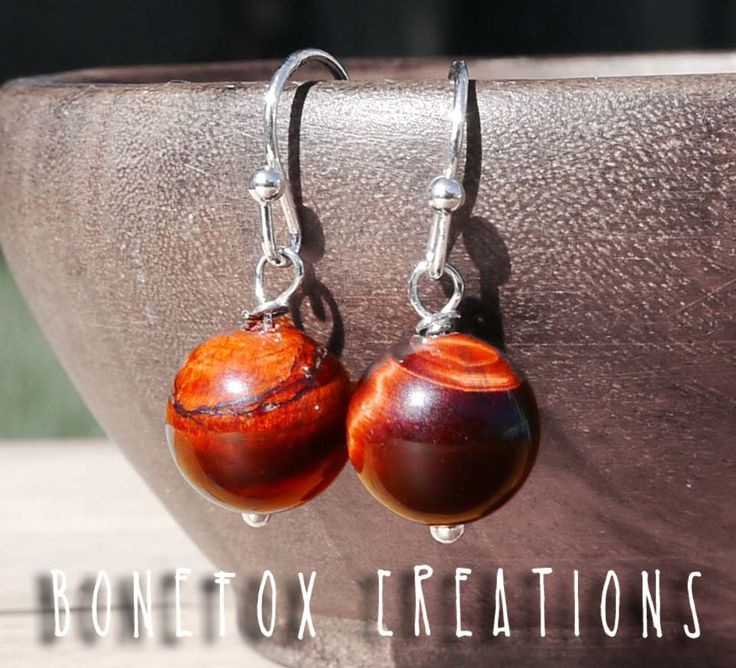 Tigers eye earrings via BoneFox. Click on the image to see more!