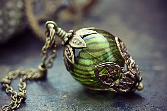Hot Air Balloon Necklace Absinthe Green Glass Bead Balloon Pendant Around the World in 80 Days Neo Victorian Airship Steampunk Jewelry