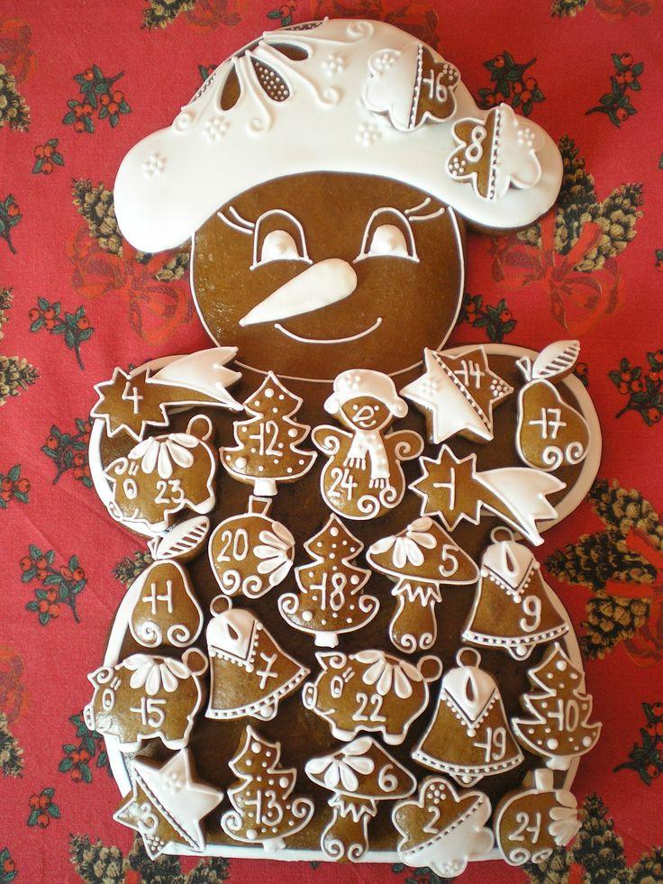 Perníkový adventní kalendář - tvar - sněhulák
