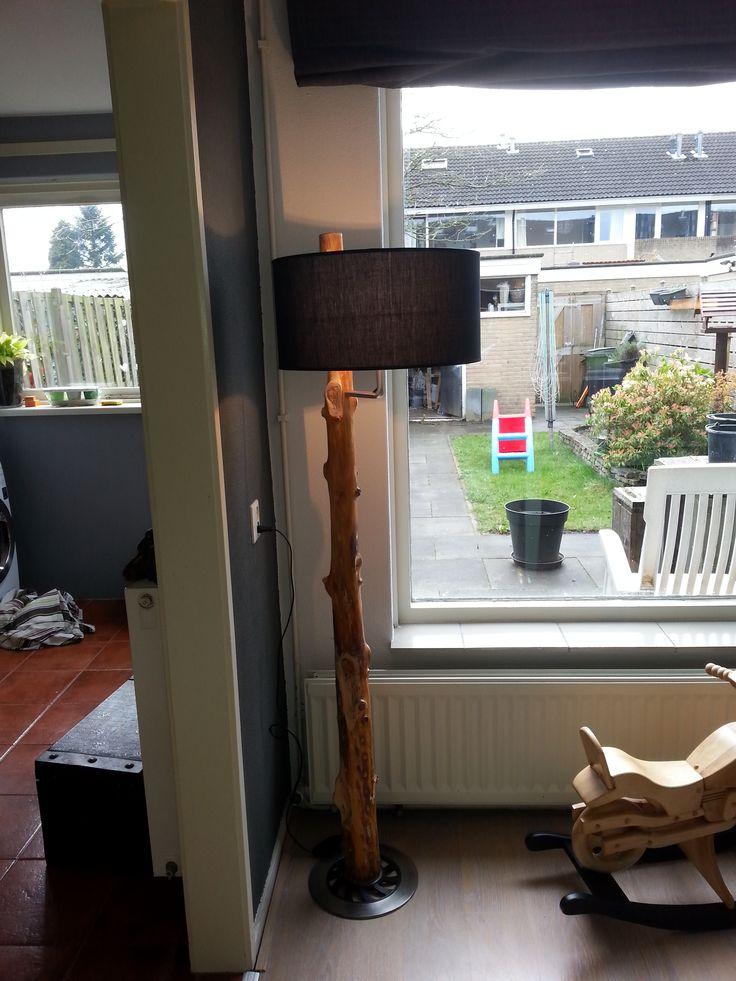 handmade lamp from tree trunk