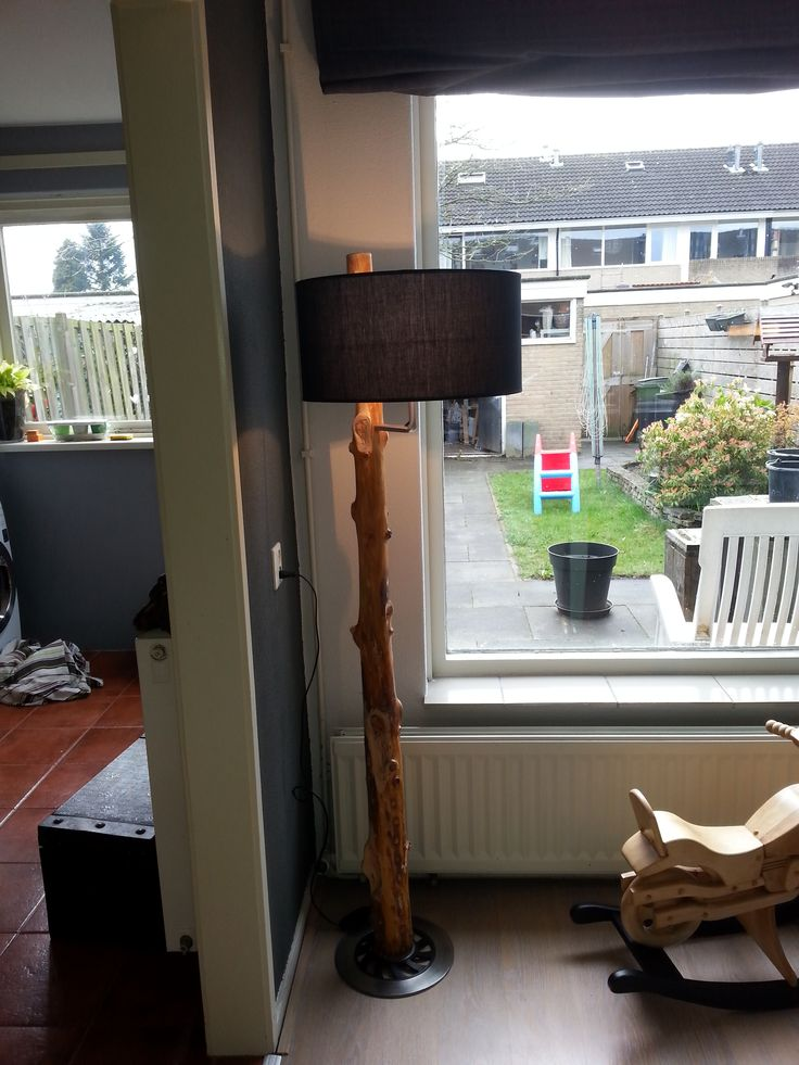 handmade lamp from tree trunk
