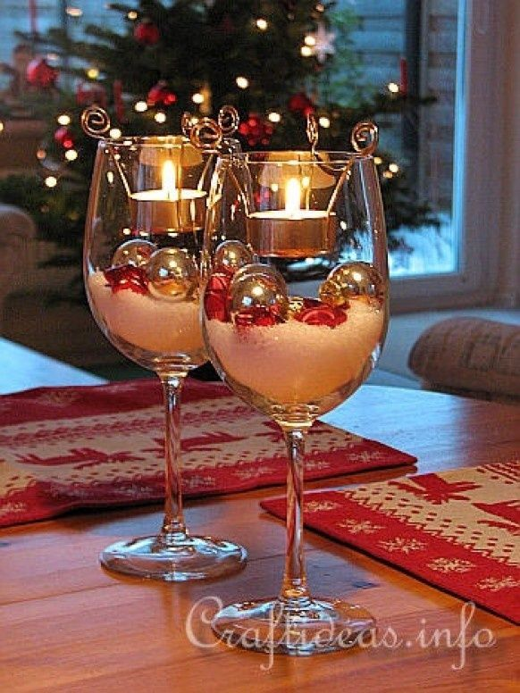 Ornament and Tealight Filled Christmas Wine Glasses | christmas xmas holiday decorating decor