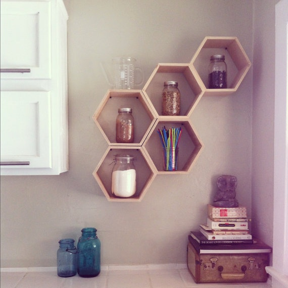 Floating Honeycomb Shelves  Back to School set of by HandmadeRiot, $200.00