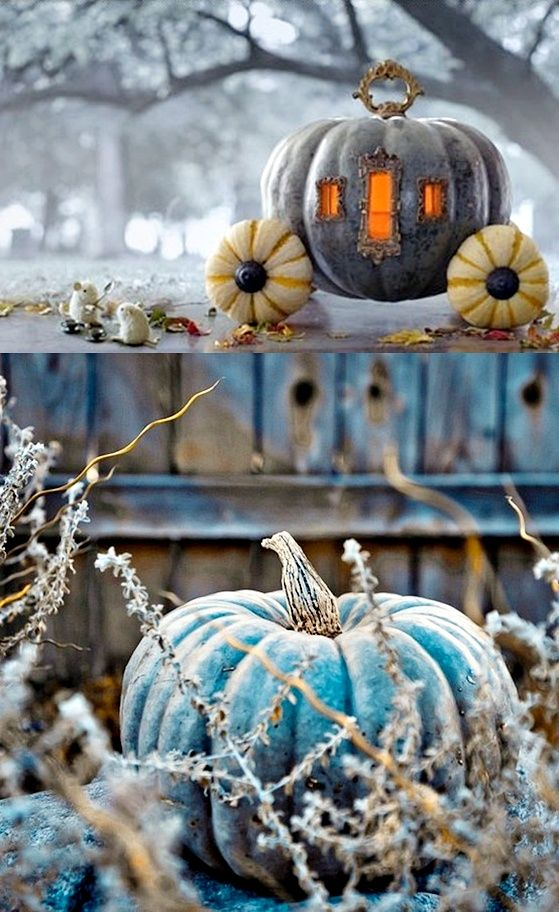 Using mini-pumpkins as wheels, fancy vintage door-handles and brooch frames for the door and windows