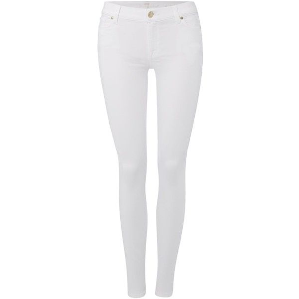 7 For All Mankind Slim illusion mid rise skinny jean in optic white ($250) ❤ liked on Polyvore featuring jeans, pants, bottoms, white, white jeans, women, denim skinny jeans, stretch jeans, stretch skinny jeans and skinny jeans