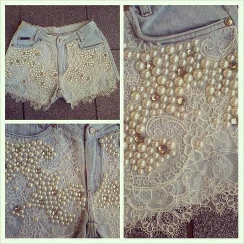 Muito chaarmosso este Short, basta cortar uma calça e customizar com renda e perolas..Lindo Lindo!!!